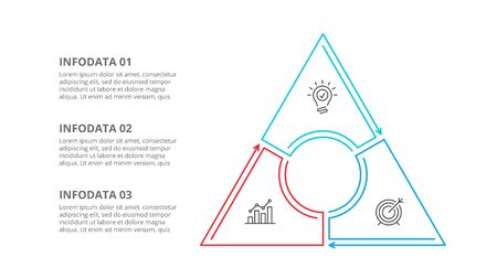 Triangle divided into 3 parts, steps or options. Simple vector illustration for presentation. Business cycle infographic element.