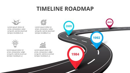 Business curved road map timeline infographic with pointers. Creative concept with 4 options, parts, steps or processes.