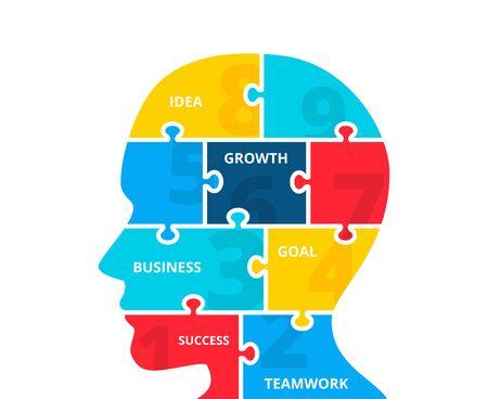 Puzzle vector human head silhouette infographics. Businecc concept for chart, diagram, web design or presentation. Vetores