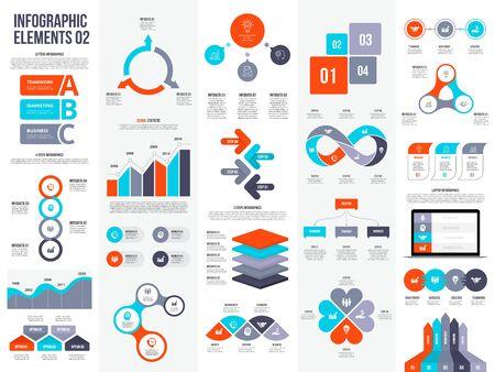 Grande set di elementi infografici. Può essere utilizzato per passaggi, processi aziendali, flusso di lavoro, diagramma, concetto di diagramma di flusso e sequenza temporale. Modello di progettazione vettoriale di visualizzazione dei dati.