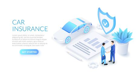 Car insurance design concept with car, shield and contract. Isometric vector illustration. Landing page template for web.