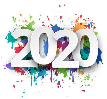 Gelukkig nieuwjaar 2020-viering met kleurrijke spuitverfsjabloonachtergrond. Vector papier illustratie.