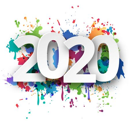 Happy new Year 2020 celebration with colorful spray paint template background. Vector paper illustration.