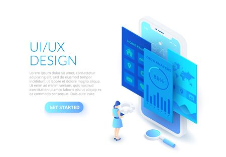 UI design concept with smartphone, woman and magnifier. Isometric vector illustration. Landing page template for web.