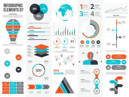 Grand ensemble d'éléments infographiques. Peut être utilisé pour les étapes, les processus métier, le flux de travail, le diagramme, le concept d'organigramme et la chronologie. Modèle de conception de vecteur de visualisation de données.