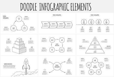 Doodle infographic set with pyramid, rocket, circles and other abstract elements. Hand drawn icons. Thin line illustration.