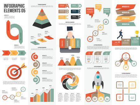 Grote reeks infographic elementen. Kan worden gebruikt voor stappen, bedrijfsprocessen, workflow, diagram, stroomdiagramconcept en tijdlijn. Ontwerpsjabloon voor gegevensvisualisatie vector.