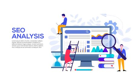 Seo analysis concept with monitor, hourglass and characters. Vector illustration. Landing page template for web and mobile.