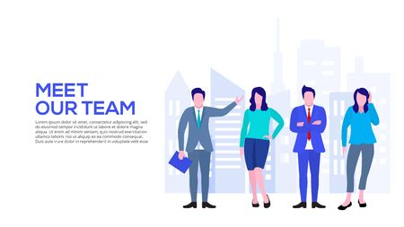 Landing page template of our business team. Flat vector illustration.