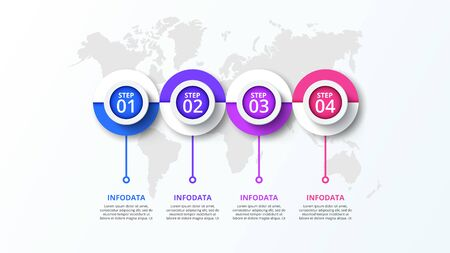 Vector circles infographic with world map. Business data visualization. Presentation with 4 steps, options, parts or processes Çizim