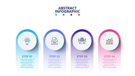 Process circle infographic with 4 options. Business data visualization