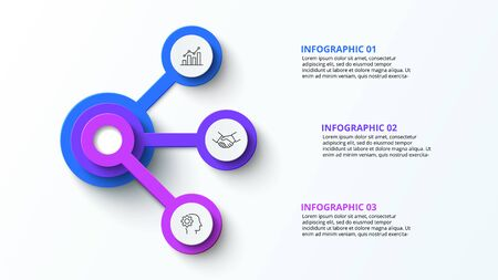 Circle elements diagram with 3 steps, options, parts or processes. Creative concept for infographic. Business data visualization. Vector business template for presentation.
