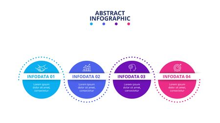 Process infographic with 4 options and dots line. Business data visualization.