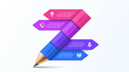 Vector pencil infographic with arrows. Education concept for presentation with 4 options.