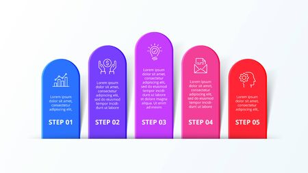 Infographic design template with five strip elements. Concept of 5 steps of business strategy. Clean vector illustration for presentation
