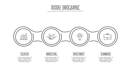 Doodle infographic circles with 4 options. Hand drawn icons. Thin line illustration