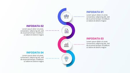 Vertical infographic design template with four circle elements and zig zag. Concept of 4 steps of business strategy. Clean vector illustration for presentation Çizim