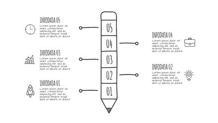 Doodle time pencil with 5 options. Hand drawn icons. Thin line education illustration