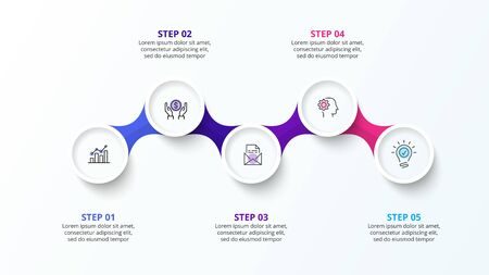 Infographic design template with five circle elements and zig zag. Concept of 5 steps of business strategy. Clean vector illustration for presentation Çizim