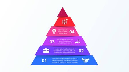 Infographic pyramid template with six strip elements. Concept of 6 steps of business strategy. Clean vector illustration for presentation. Çizim