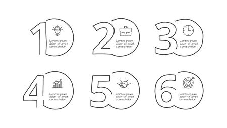 Doodle infographic circles with 6 options. Hand drawn icons. Thin line number illustration Çizim