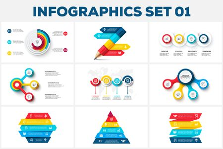 Big set of infographic elements. Can be used for steps, business processes, workflow, diagram, flowchart concept and timeline. Data visualization vector design template