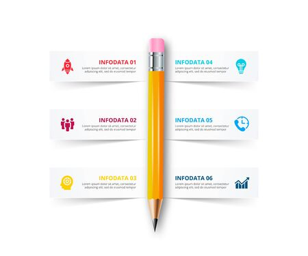 Vector pencil infographic with strips of paper. Education concept for presentation with 6 options. Çizim