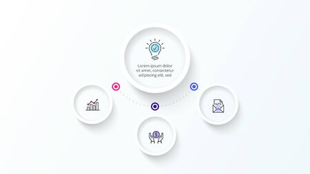 White infographic design template. Flowchart with four circle elements. Concept of 4 steps of business strategy. Clean vector illustration for presentation