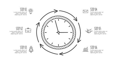 Doodle time infographic clock with 6 options. Hand drawn icons. Thin line illustration Çizim