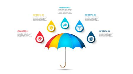 Vector umbrella infographic with 5 drops. Insurance concept for presentation with five options