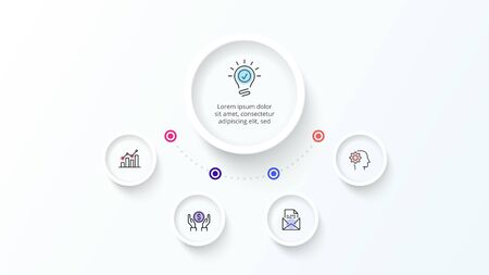 White infographic design template. Flowchart with four circle elements. Concept of 5 steps of business strategy. Clean vector illustration for presentation. Çizim