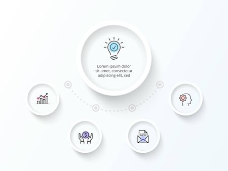 White infographic design template. Flowchart with four circle elements. Concept of 5 steps of business strategy. Clean vector illustration for presentation