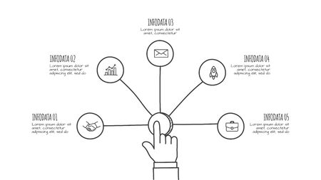 Businessman pressing button on a virtual background. Doodle circle line infographic. Business concept with 5 options, parts, steps or processes Illustration
