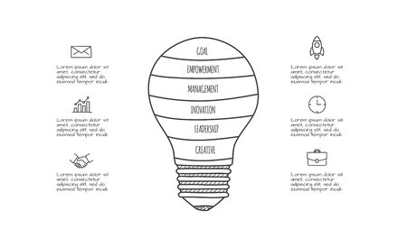 Doodle lightbulb infographic with 6 options. Hand drawn icons. Creative thin line illustration