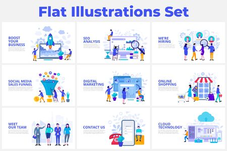 Seo analysis, startup, digital marketing, cloud technology and sales funnel flat vector illustration. Landing page template for web