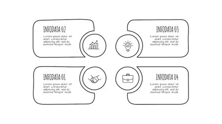 Doodle abstract infographic template with 4 steps. Hand drawn icons. Thin line flat illustration Illustration