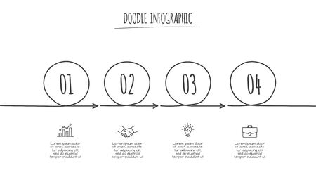 Doodle process infographic template with 4 steps. Hand drawn icons. Thin line flat illustration Çizim