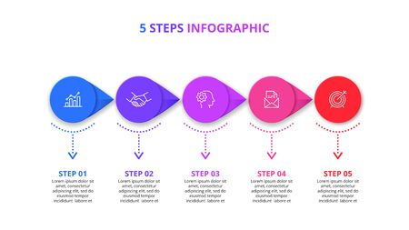 Five arrow circles infographic elements. Business template for presentation. Vector flowchart concept with 5 options or steps. Çizim