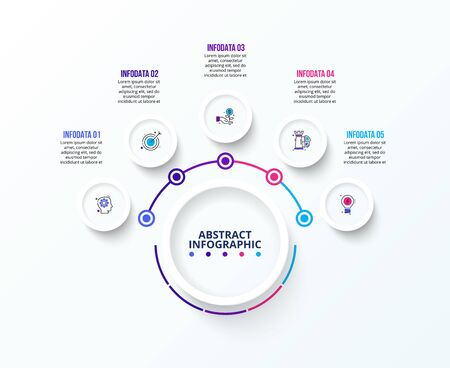 White infographic design template. Flowchart with five circle elements. Concept of 5 steps of business strategy. Clean vector illustration for presentation