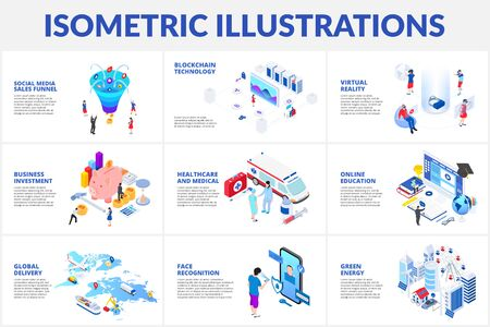 Isometric 3d illustrations set. Medical, sales funnel, online education, green energy and business investment with characters