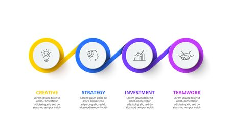 Four circles infographic elements. Business template for presentation. Vector flowchart concept with 4 options or steps
