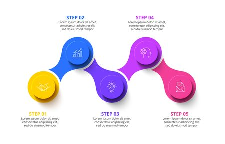 Five circles infographic elements. Business template for presentation. Vector flowchart concept with 5 options or steps.