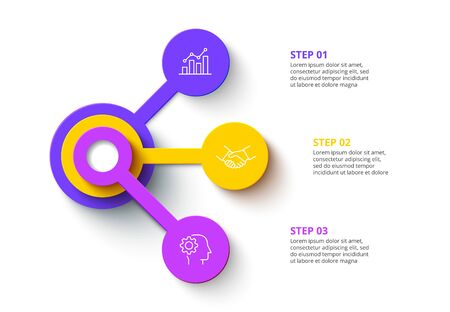 Three circles infographic elements. Business template for presentation. Vector flowchart concept with 3 options or steps Çizim
