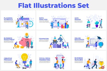 Data analysis, teamwork, creative process and social media marketing flat vector illustration. Landing page template for web Çizim