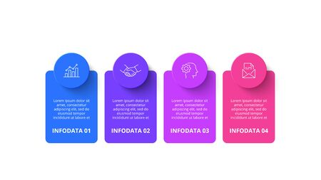 Four circles with banners infographic elements. Business template for presentation. Vector concept with 4 options or steps