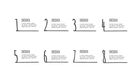 Doodle infographic with 8 options. Hand drawn icons. Thin line illustration