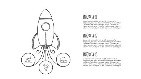 Doodle infographic rocket with 3 options. Hand drawn icons. Thin line startup illustration. Çizim