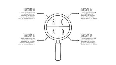 Doodle infographic magnifier with 4 options. Hand drawn icons. Thin line research illustration