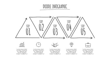 Doodle infographic triangle with 5 options. Hand drawn icons. Thin line illustration