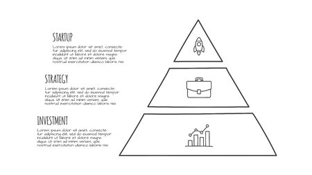 Doodle infographic pyramid with 3 options. Hand drawn icons. Thin line illustration
